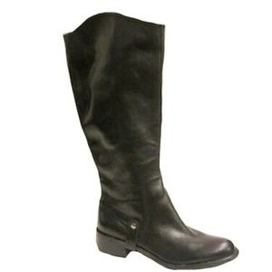 Knee high leather boots black leather faux riding